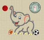 Little Elephant Applique Design ~ Basketball, Football & Soccer Ball in Fill
